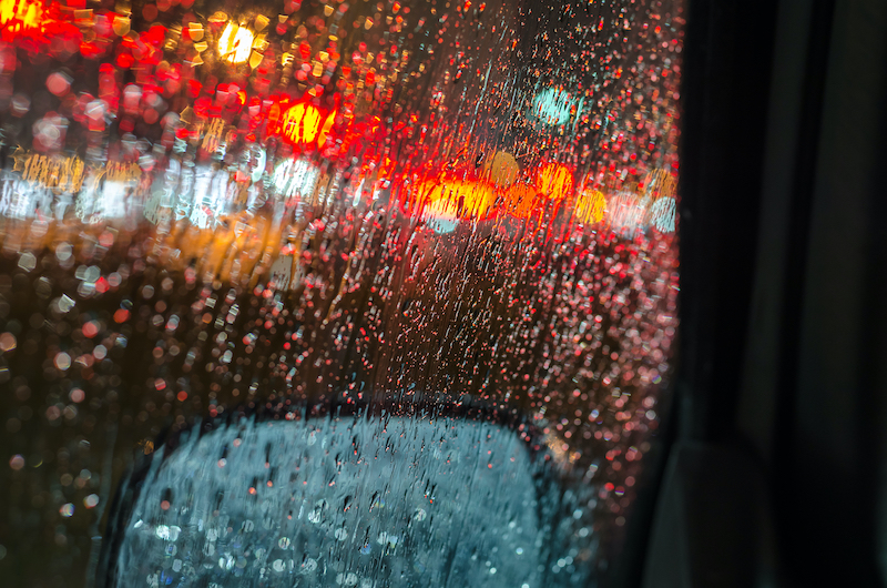 rain car window night