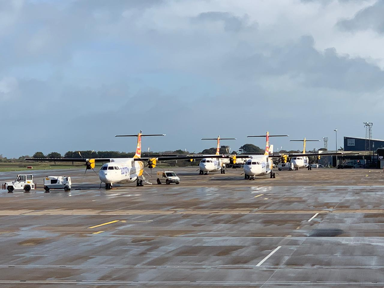 Aurigny Aircrafts parked into wind