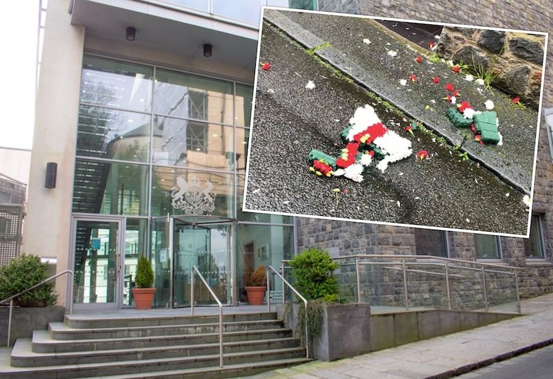 Two men sentenced for disorderly conduct over Liberation Day wreath destruction