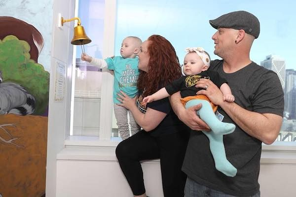 Guernseywoman's son rings bell at the end of his chemotherapy