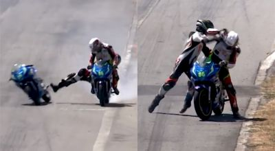 Watch: Motorcyclists fight mid-race after one leaps on to the other's bike