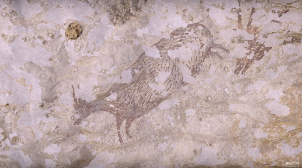 Earliest known hunting scene uncovered in cave painting