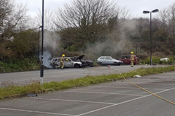 Car fire behind the Bowl for second time in week