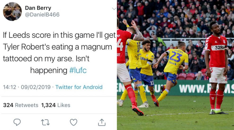 Leeds fan will stand by hilarious tattoo promise after dramatic equaliser