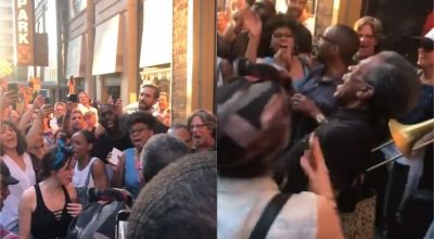 Broadway cast sings on New York streets after power outage halts show